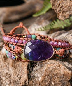Bracelet 3 rangées pierres naturelles Bobo Chic