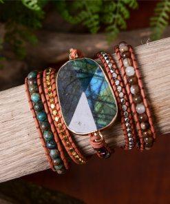 Bracelet tissé Bohème Chic Protection énergétique en labradorite