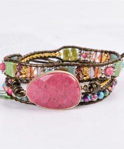 Bracelet Bohème Chic en pierres naturelles et rhodochrosite
