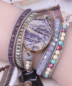 Bracelet Bohème Chic pierre de jade mauve et améthyste