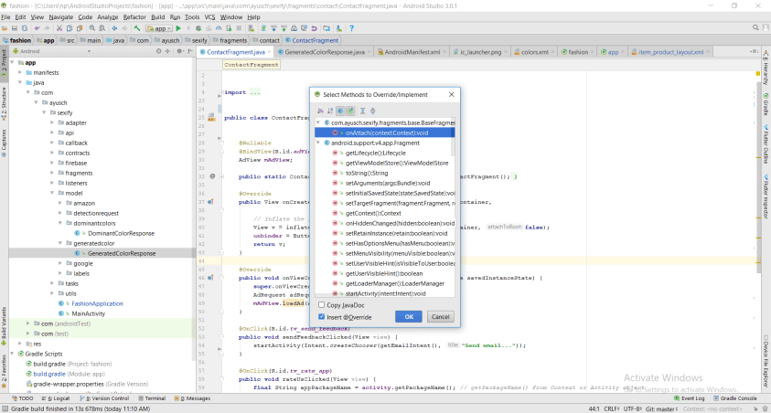 Method Overriding Android Studio Shortcut