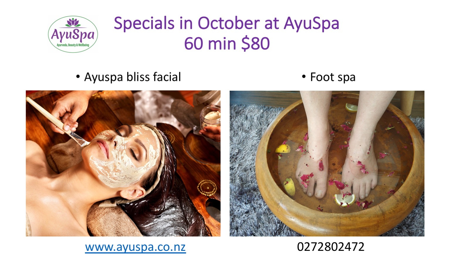 Ayuspa specials in October