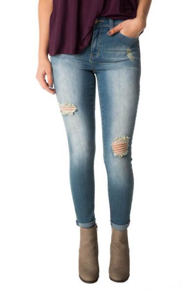 YMI Wannabettabutt Mid-wash Ripped Mid-Rise Anklet Skinny Jean