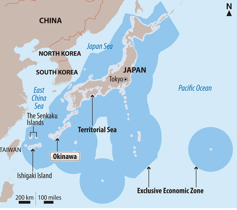 The Japanese Coast Guard says the unidentified projectile appears not to have land inside Japan's economic zone.