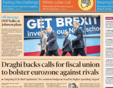 FT front page for Monday will feature a Draghi farewell message on fiscal union