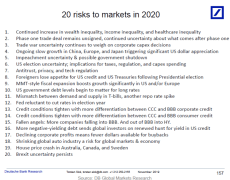 What are the biggest risks to markets in 2020?