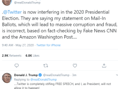 "US president Trump ""massive corruption and fraud"" tweeting"