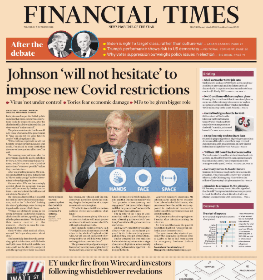 UK PM Johnson on the front page of the Financial Times