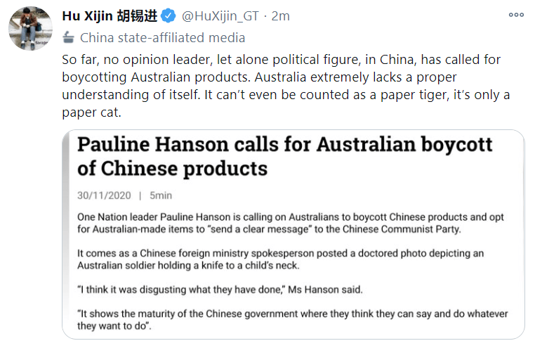 The editor of China state-media outlet Global Times is doing the bidding of his masters again.