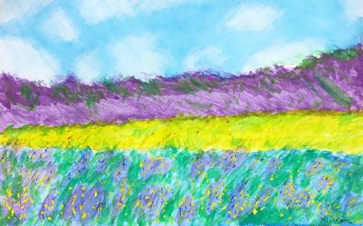 模写:クロード・モネ 「ジヴェルニーの黄色いアイリス畑」(小五))
