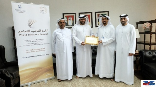 "The International Institute for Tolerance gives the first ""Tolerance Award"" to Salem Al Bedwawi"