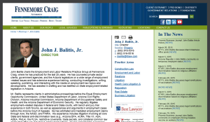 Screenshot of John Balitis' page on the Fennemore Craig website, April 3, 2015.