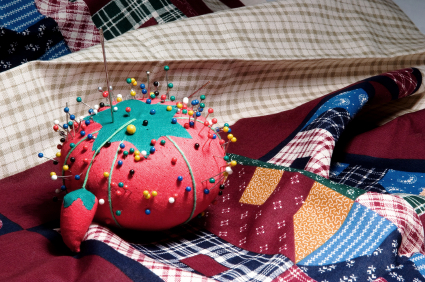 Pin Cushion on Fabric