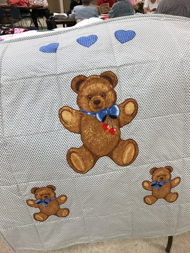 Carol P hearts and bears applique quilt.