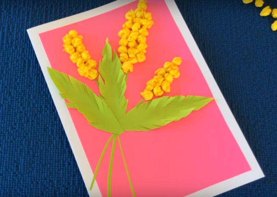 Курочек, открытка маме с мимозой