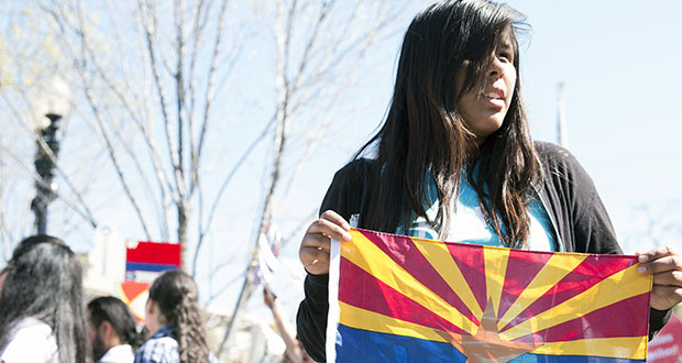 """Laura Reyes said she has a personal reason for hoping DACA is upheld - it would allow her to pay in-state tuition in college - as well as helping """"my brother, my sister and a lot of people."""" (Photo by Madison Alder/Cronkite News)"""