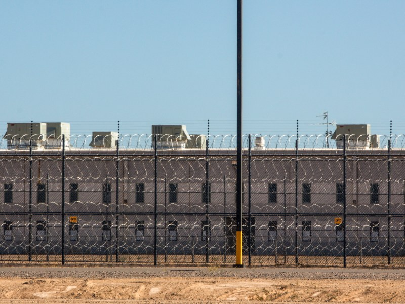 The Eloy Detention Center, a privately run ICE immigrant detention facility, is shown here on Friday, April 10, 2020. (Photo by Nicole Neri | AZCIR)