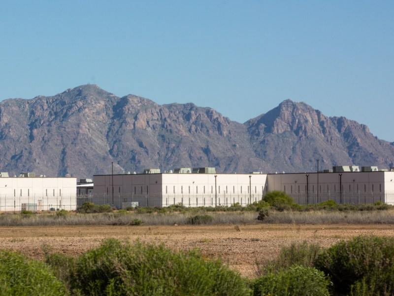 The La Palma Correctional Facility in Eloy, Arizona is shown here on April 10, 2020. The facility houses U.S. Immigration and Customs Enforcement detainees and is managed by Core Civic, a private detention center company. Photo by Nicole Neri | AZCIR