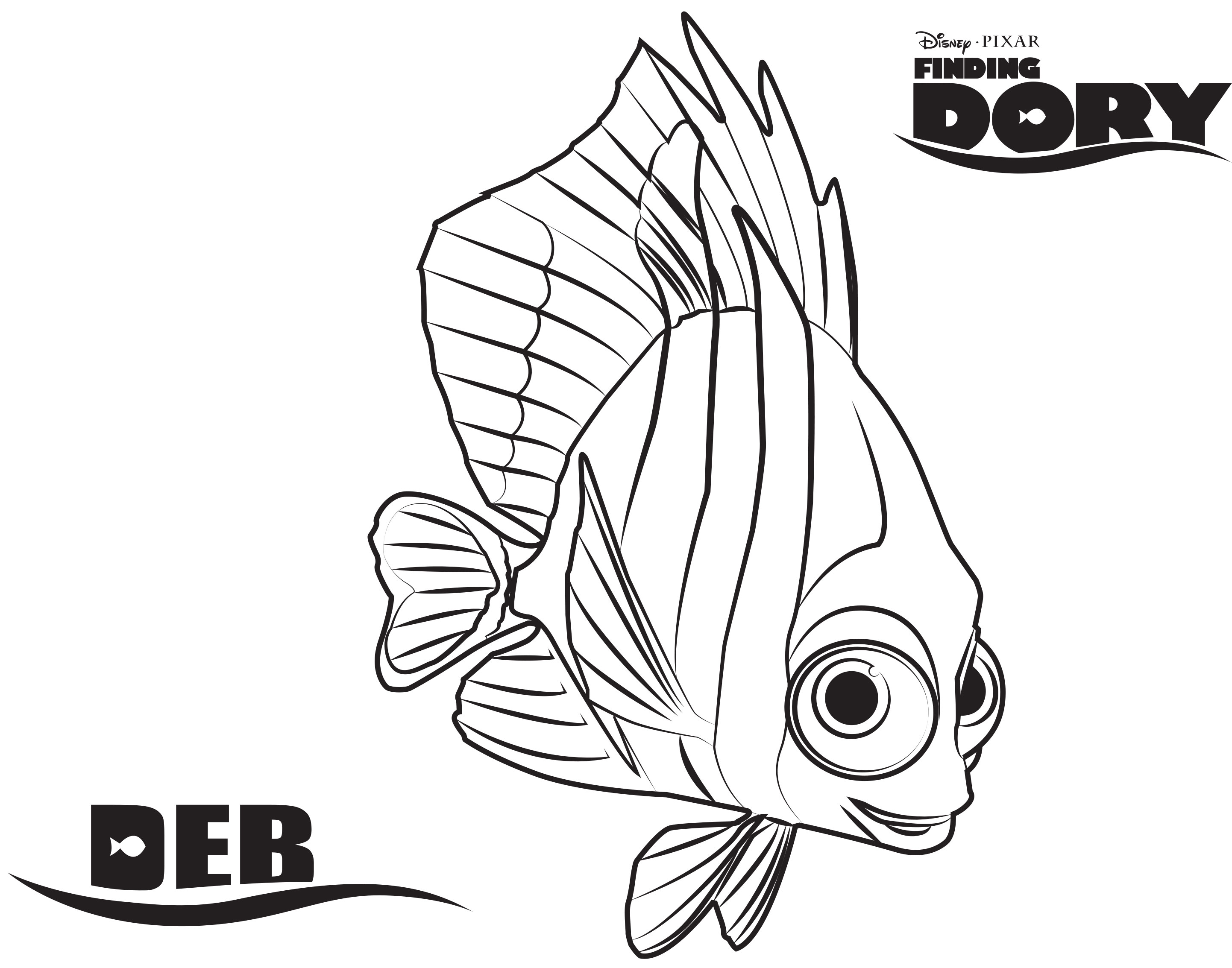 Dory finding nemo coloring pages deb in finding dory and nemo whale