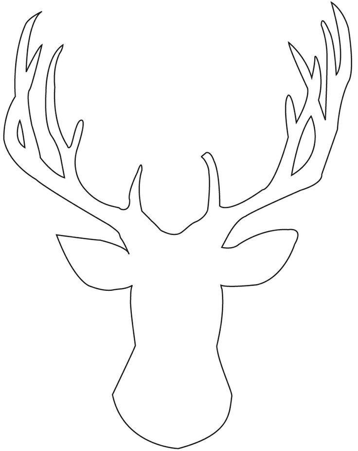 deer head drawings easy sketch coloring page