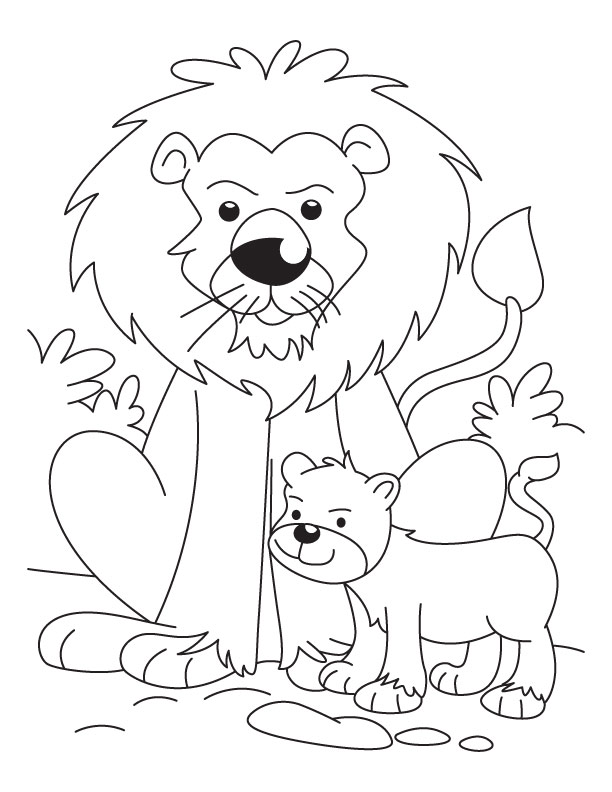 lion with a cub coloring pages download free lion with a cub