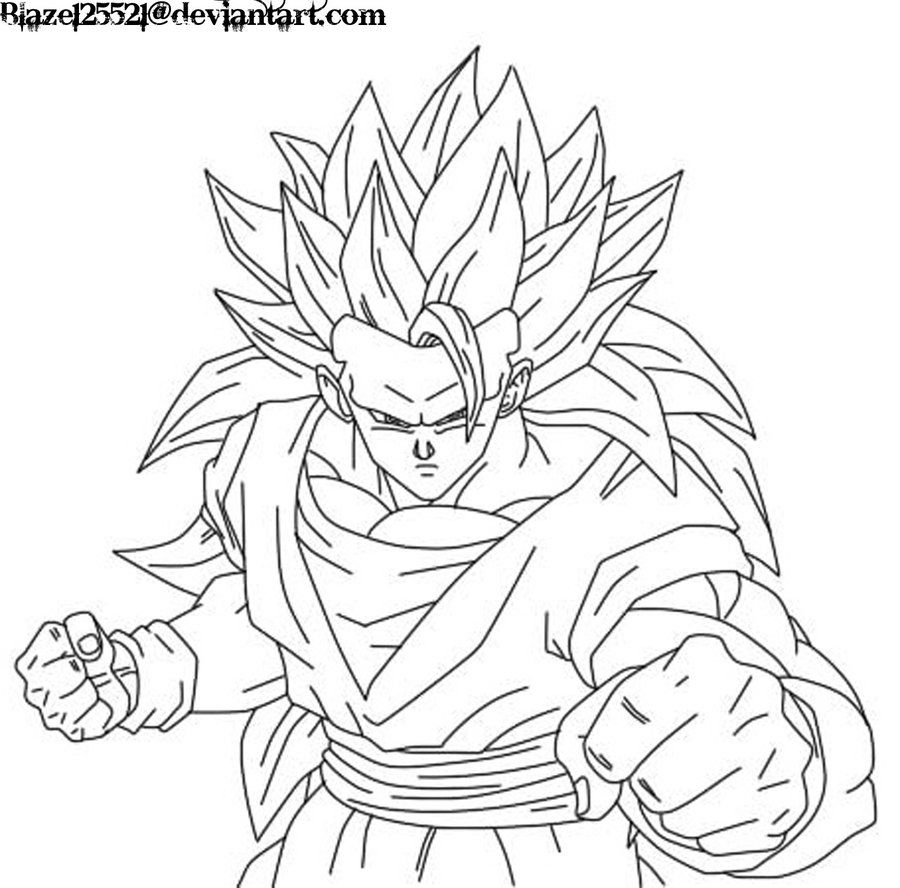 goku super saiyan 3 coloring pages az coloring pages
