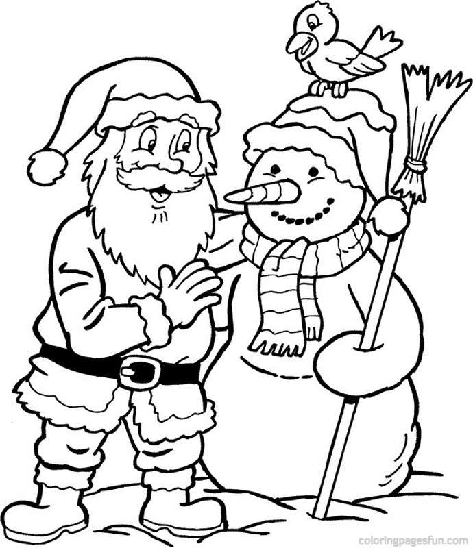 claus and a snowman christmas coloring pages az coloring pages
