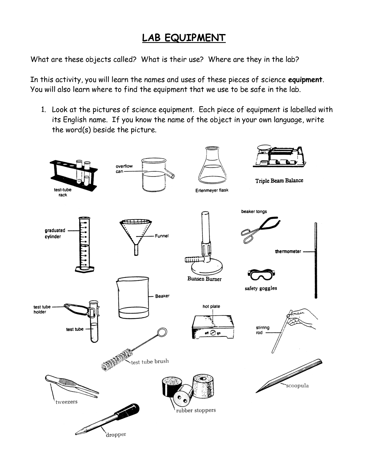 Kitchen Utensils Small Equipment Identification Worksheet Answers Kitchen Tools And Utensils
