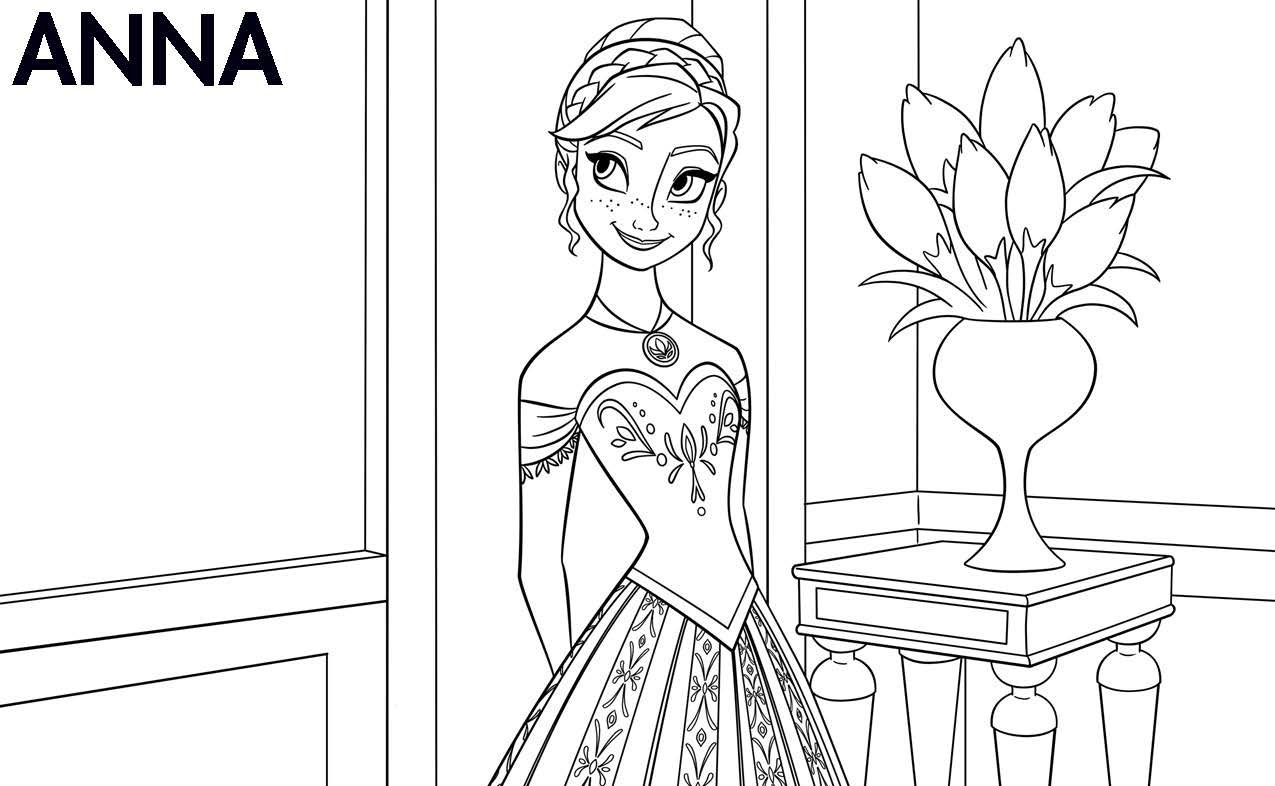 Coloring Pages Frozen Anna From Frozen Movie Coloring Page