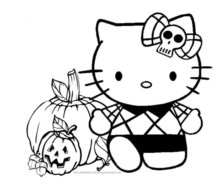 halloween coloring page hello kitty kids coloring page