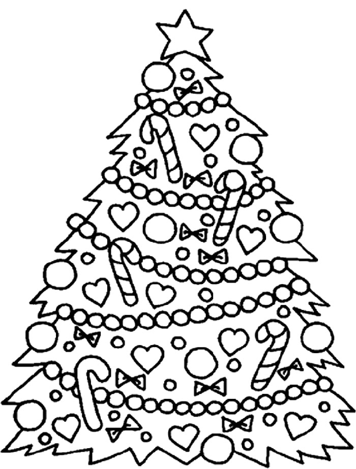 tree coloring pages christmas tree with decoration ornament ball