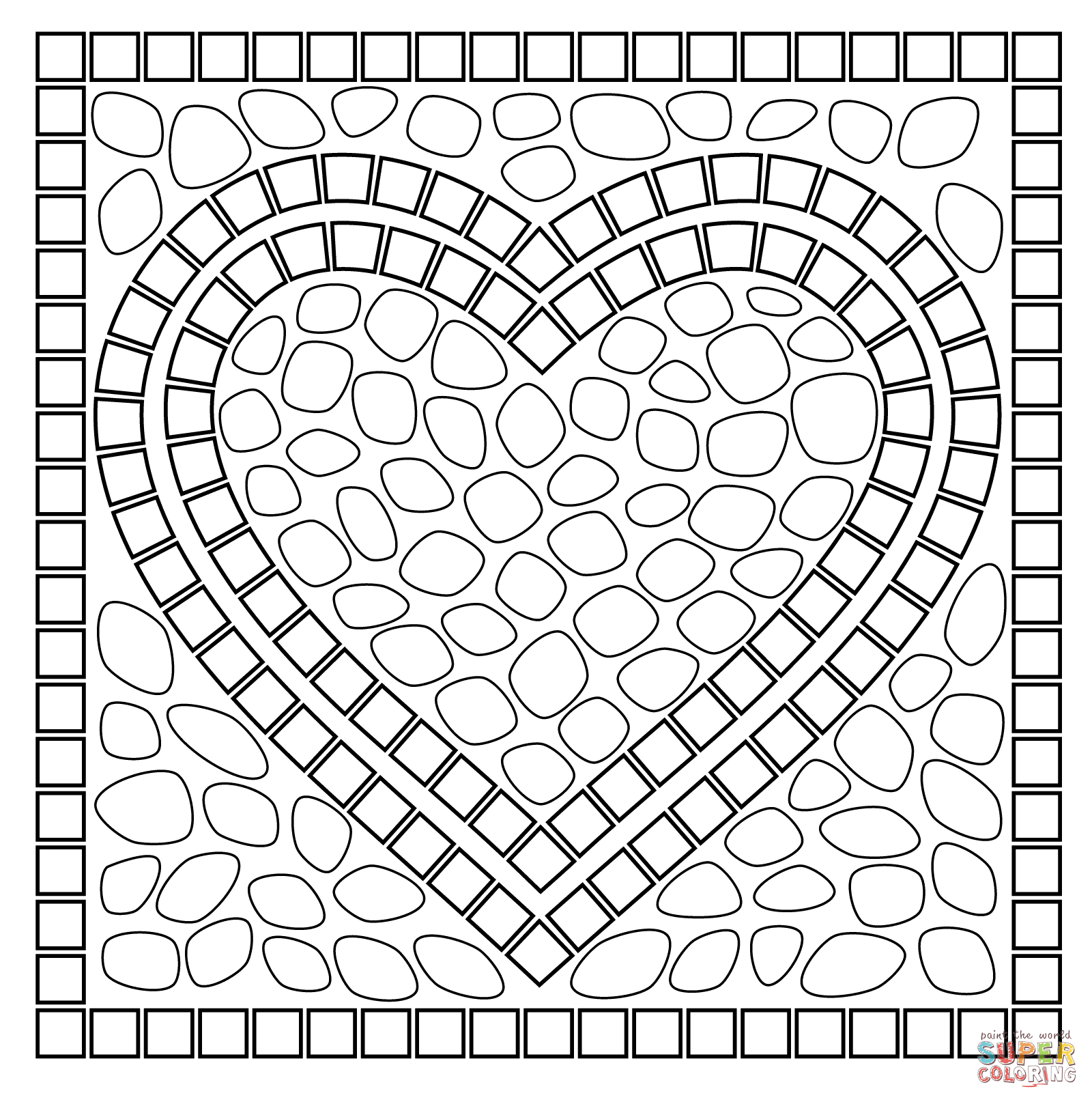 Roman Mosaic Coloring Pages