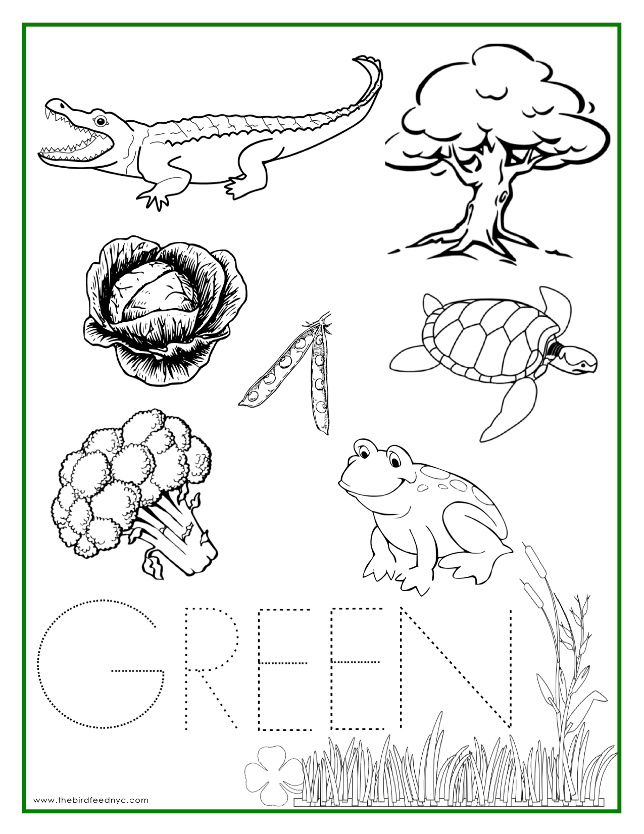The Color Green Coloring Pages
