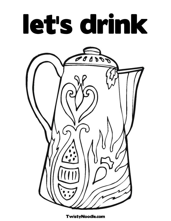 coloring page drinking water az coloring pages