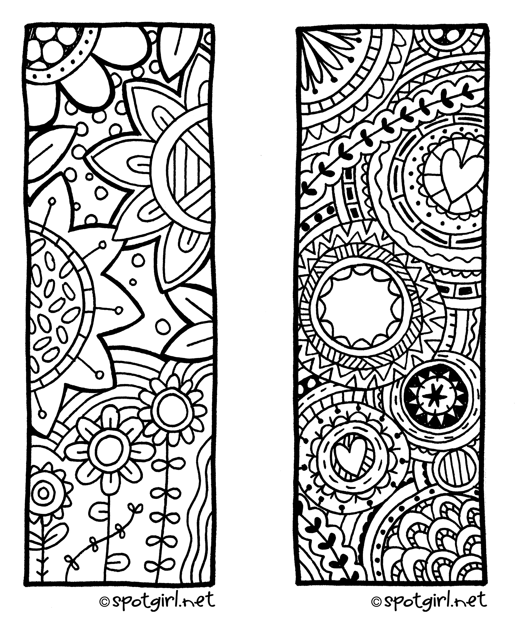 Free Coloring Pages For Adults Bookmarks