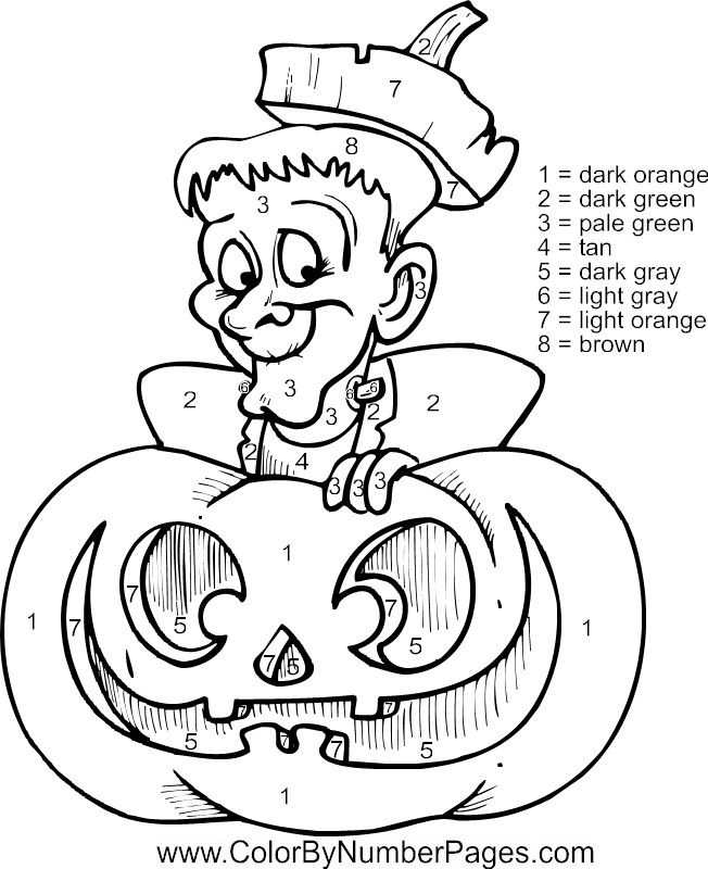halloween color by numbers az coloring pages