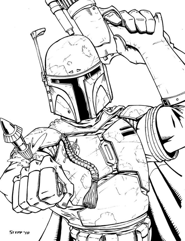 boba fett coloring page free coloring pages pinterest boba
