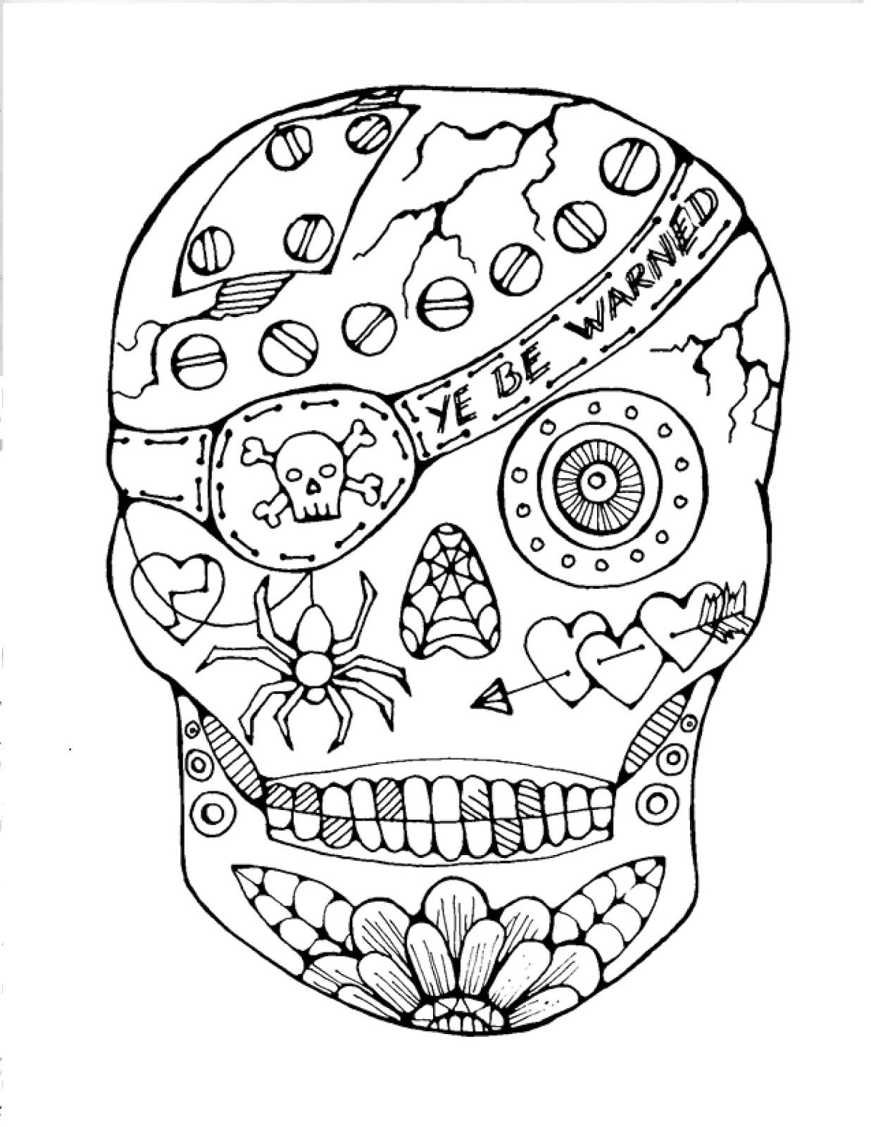 Free Printable Sugar Skull Coloring Pages