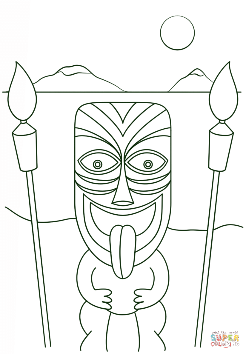 printable tiki mask coloring pages az coloring pages