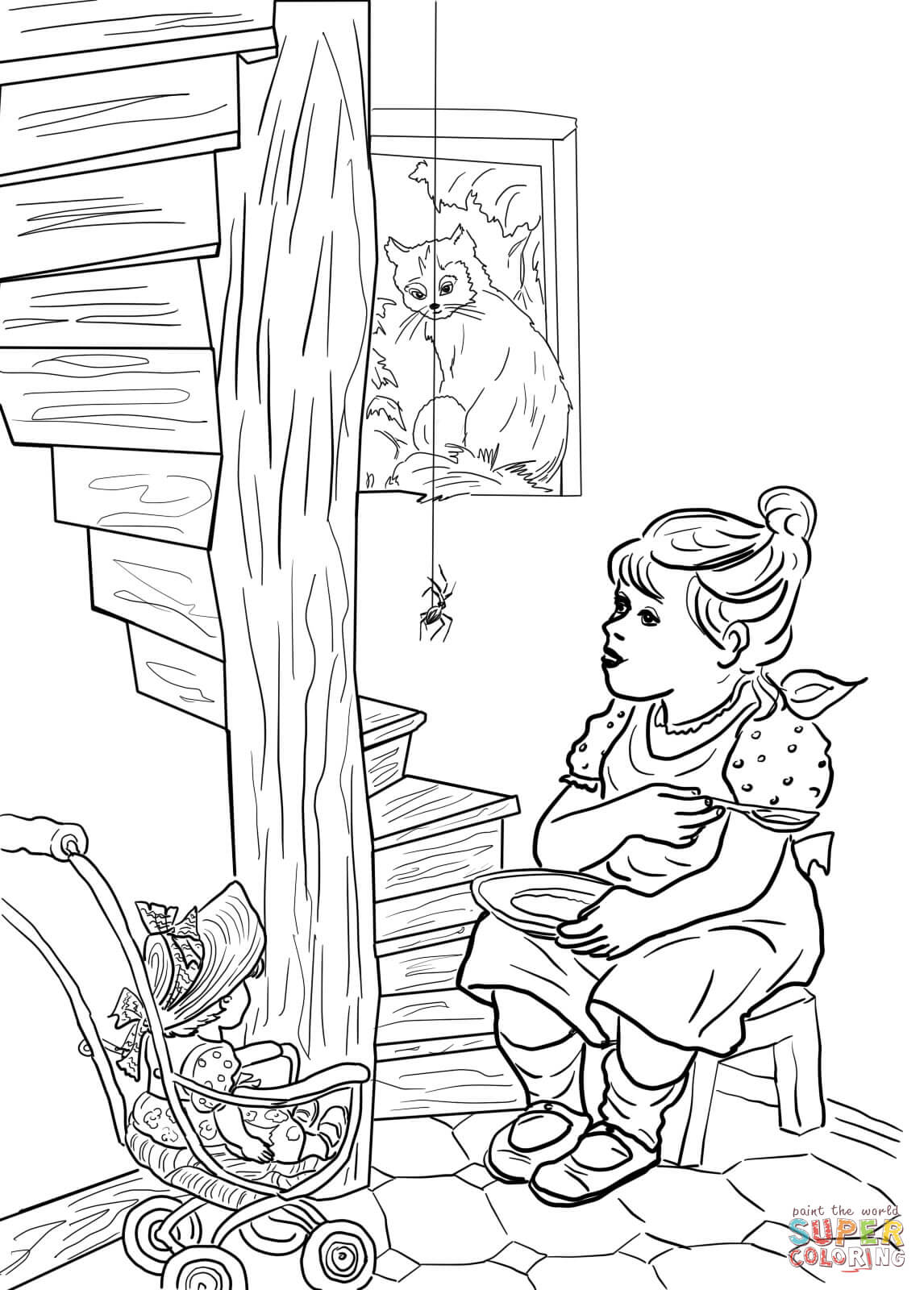 Little Miss Muffet Coloring Page Az Pages Sketch Coloring Page