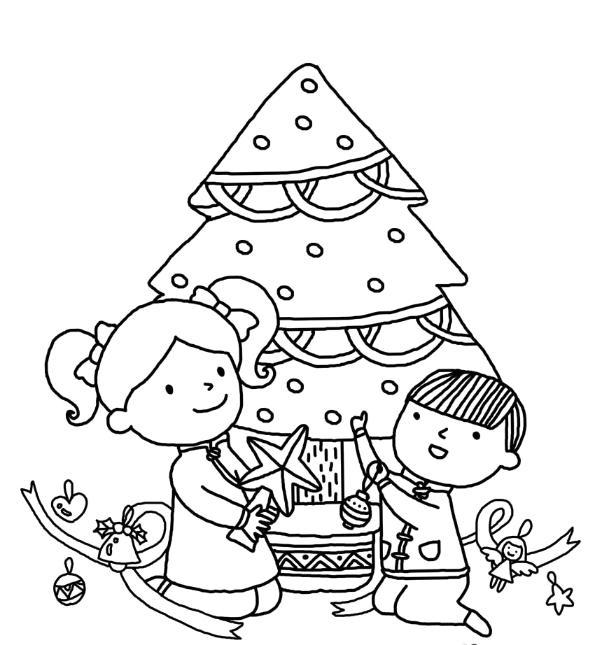 two kids and christmas tree coloring pages christmas coloring