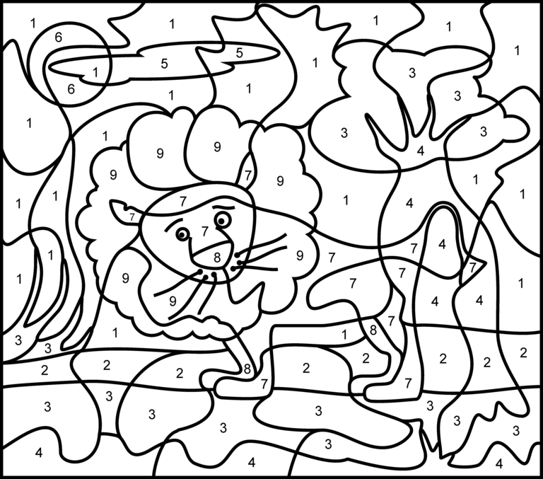 free color by number pages for kids az coloring pages