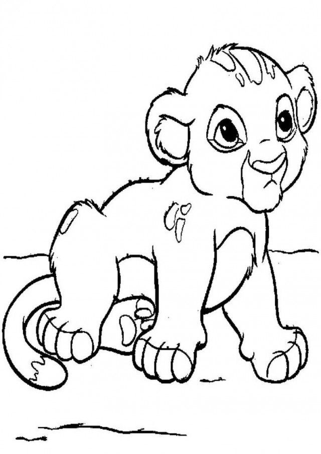 baby lion cub coloring pages for kids printable 139274 baby lion az