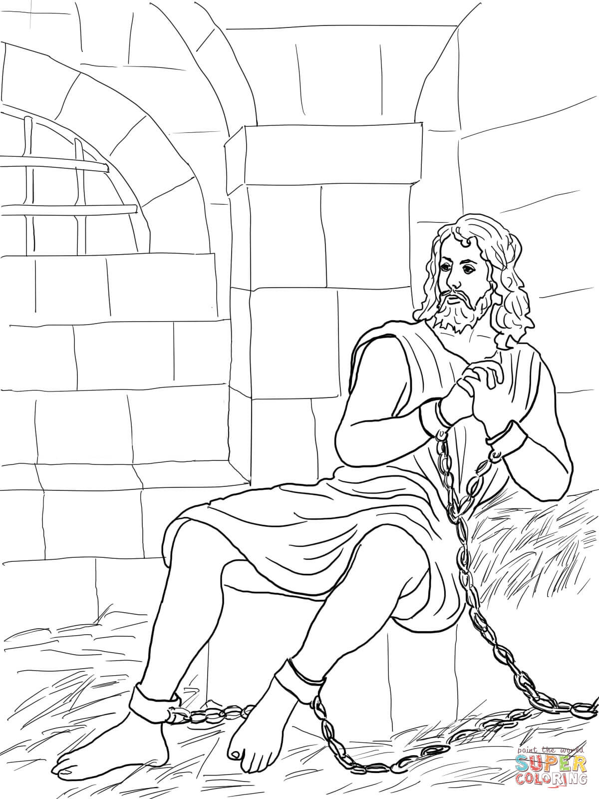 Peter In Prison Coloring Page
