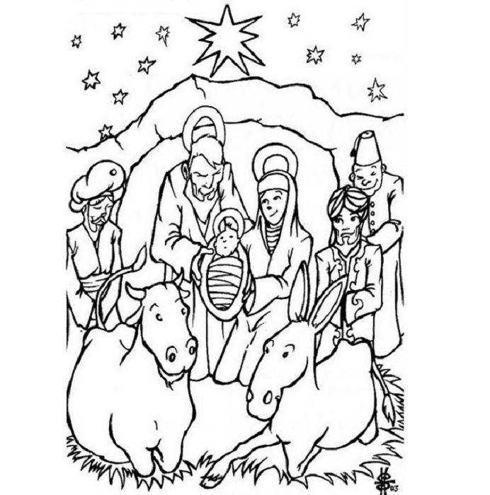 merry christmas coloring pages of birth of jesus coloring