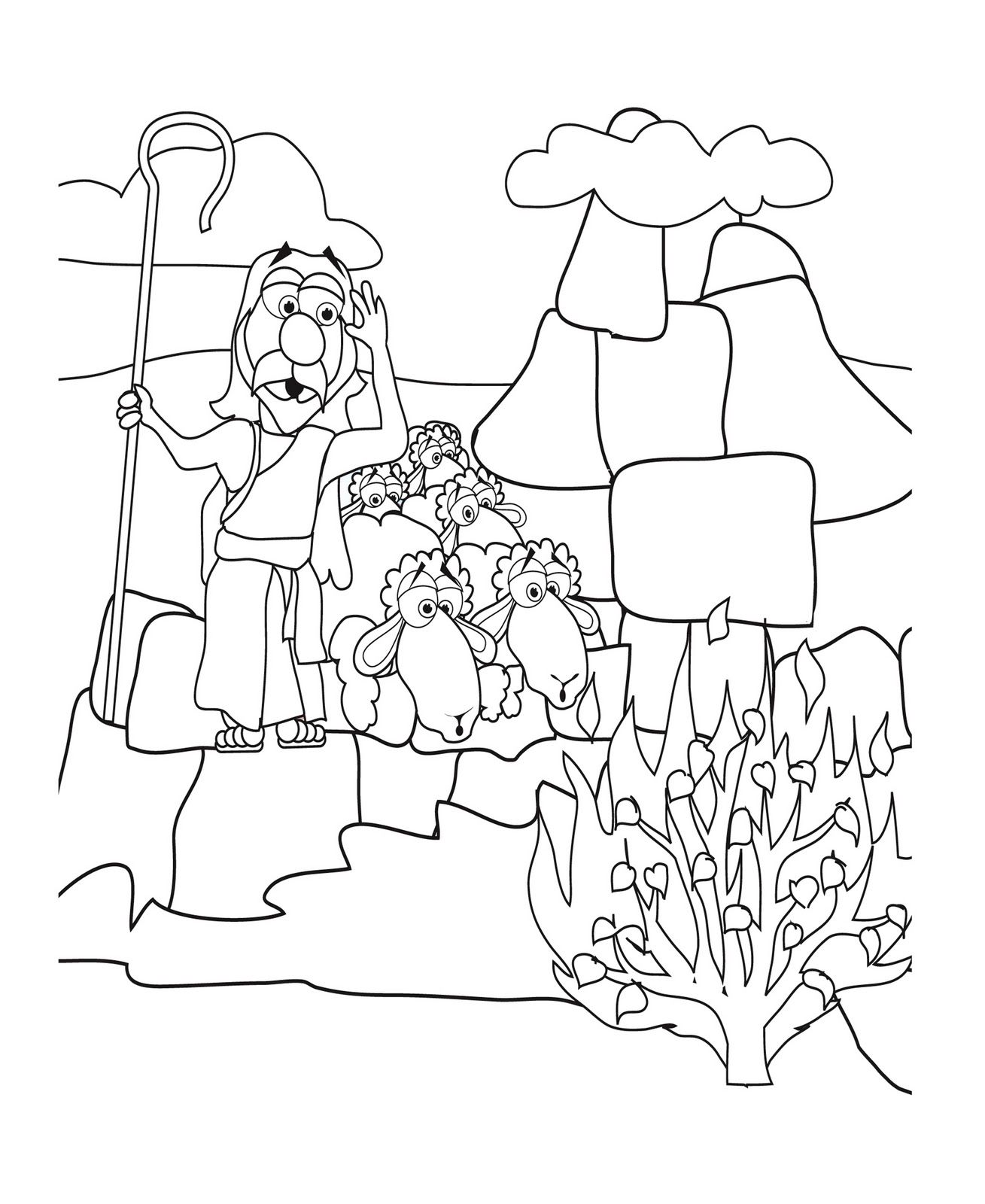 Moses And Burning Bush Coloring Page