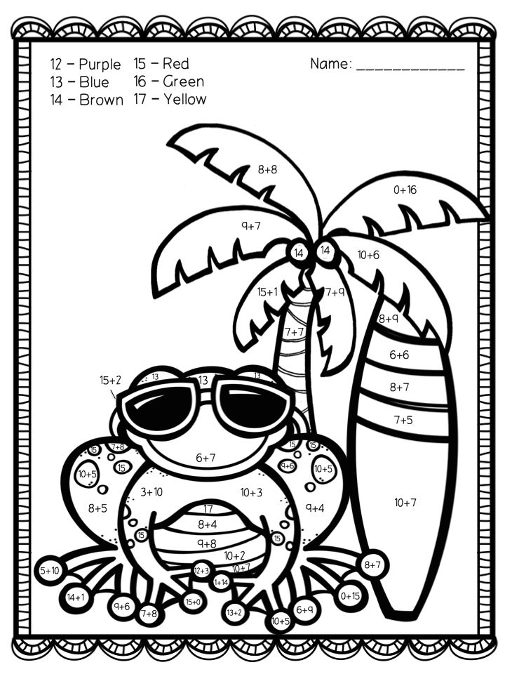 addition color by number az coloring pages
