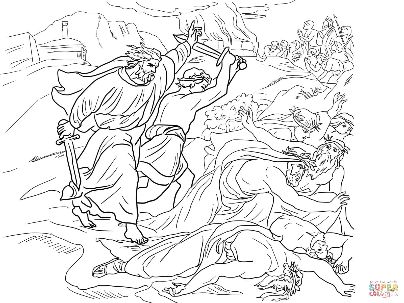Elijah And Chariot Of Fire Coloring Page Sketch Coloring Page