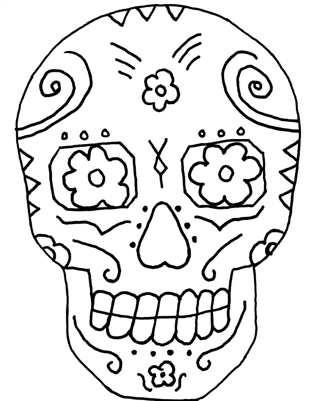 simple sugar skull coloring pages sugar skull coloring pages to