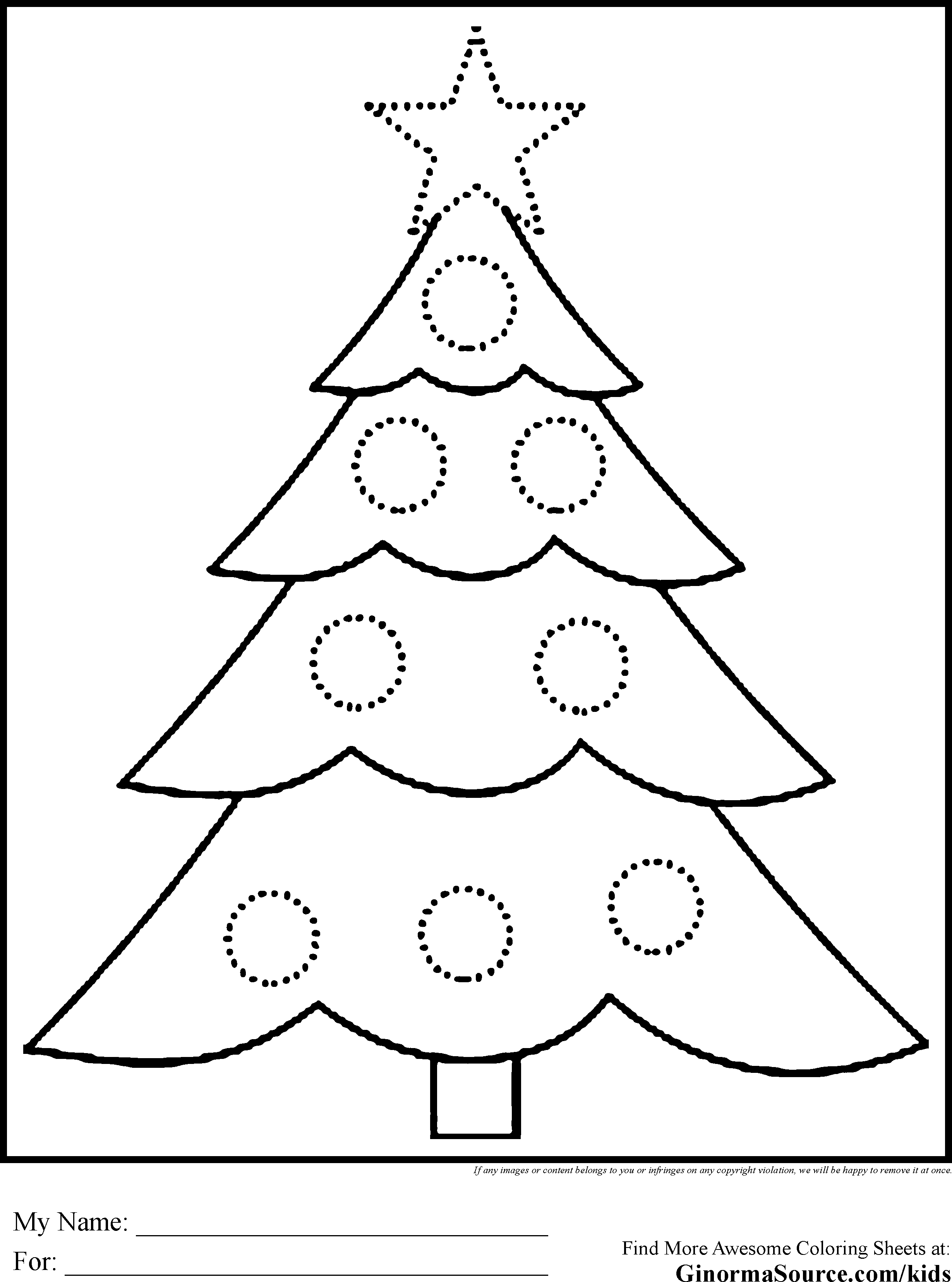 Mickey Mouse Free Christmas Tree Coloring Pages